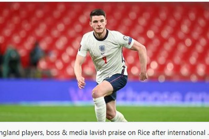 Gelandang timnas Inggris, Declan Rice tampil dominan dan menjadi pemain terbaik dalam pertandingan Inggris melawan Polandia.