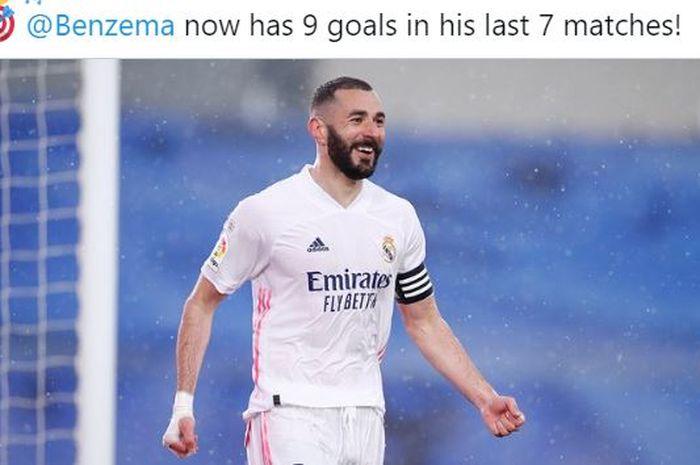 Striker Real Madrid, Karim Benzema, merayakan gol yang dicetak ke gawang Eibar dalam laga Liga Spanyol di Stadion Alfredo Di Stefano, Sabtu (3/4/2021).
