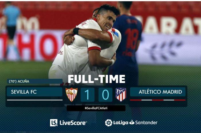Sevilla menekuk Atletico Madrid berkat gol Marcos Acuna dalam lanjutan Liga Spanyol, 4 April 2021.