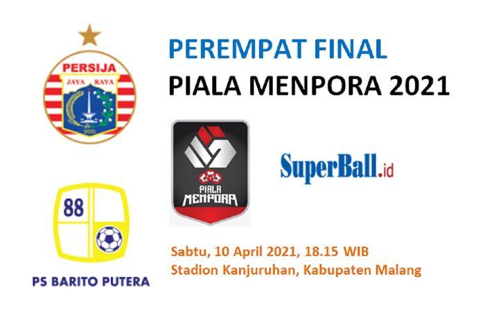 Persija Jakarta meladeni tantangan Barito Putera dalam perempat final Piala Menpora 2021 di Stadion Kanjuruhan, Kabupaten Malang, Sabtu (10/4/2021) malam WIB.