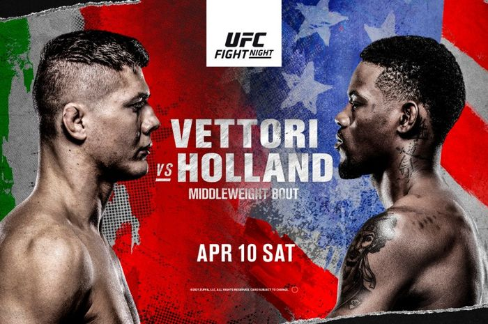 Poster UFC Vegas 23 dengan laga utama Marvin Vettori vs Kevin Holland.