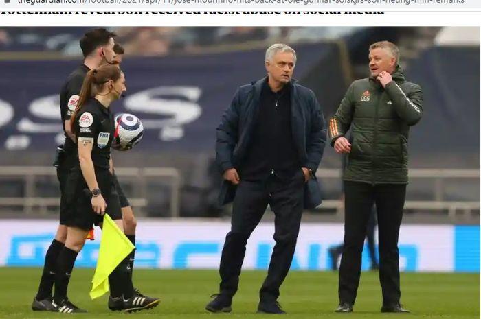 Jose Mourinho dan Ole Gunnar Solskjaer terlibat perdebatan pasca laga Tottenham vs Manchester United, Minggu (11/4/2021) malam WIB.