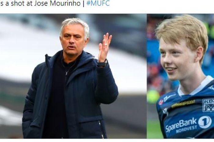 Putra Ole Gunnar Solskjaer yakni Noah Solskjaer membela sang ayah yang terlibat perang kata-kata dengan Jose Mourinho.