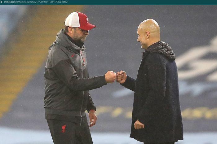 Momen antara Juergen Klopp dan Pep Guardiola pada pertandingan Liverpool vs Man City di Liga Inggris.