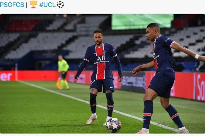 Dua pemain Paris Saint-Germain, Neymar dan Kylian Mbappe.