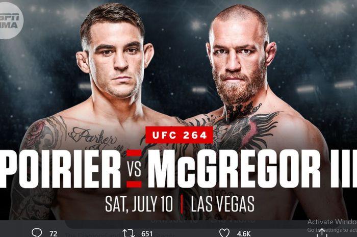 Poster duel Conor McGregor vs Dustin Poirier ketiga pada UFC 264 (10/7/2021) mendatang.