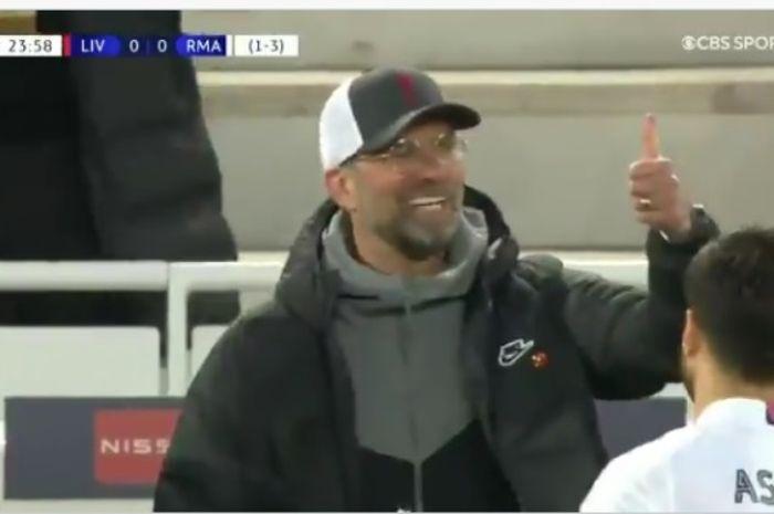 Pelatih Liverpool, Juergen Klopp, dalam duel kontra Real Madrid pada Rabu (14/4/2021).