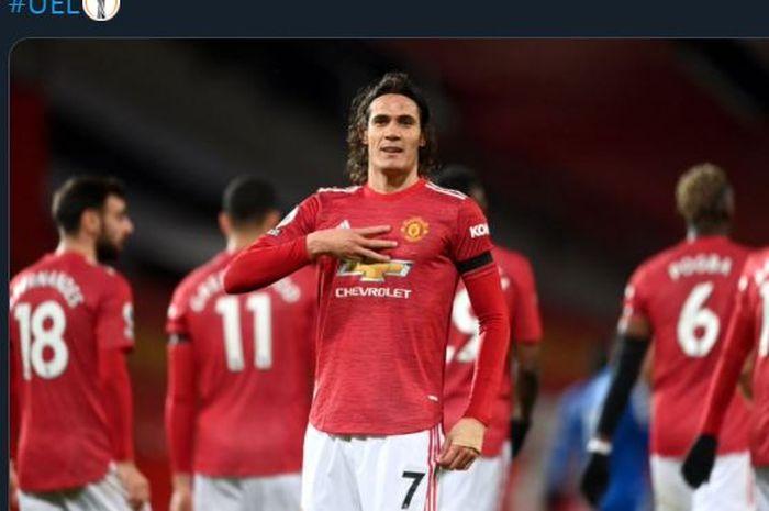 Edinson Cavani merayakan gol Manchester United ke gawang Granada dalam partai Liga Europa, 15 April 2021.