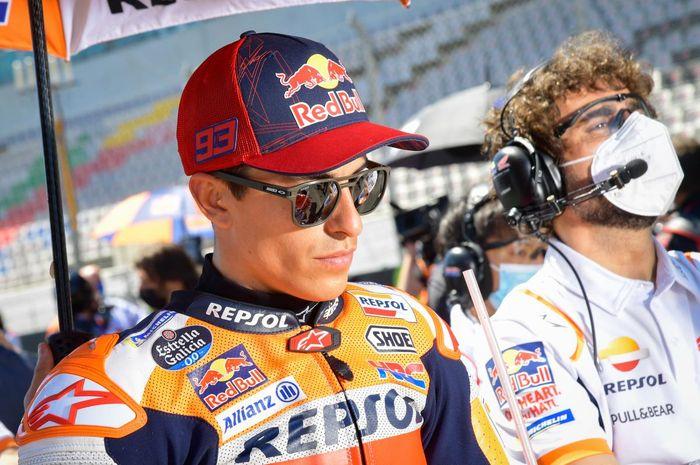 Pembalap Repsol Honda, Marc Marquez, jelang balapan MotoGP Portugal di Sirkuit Algarve, Portimao, Minggu (18/4/2021).