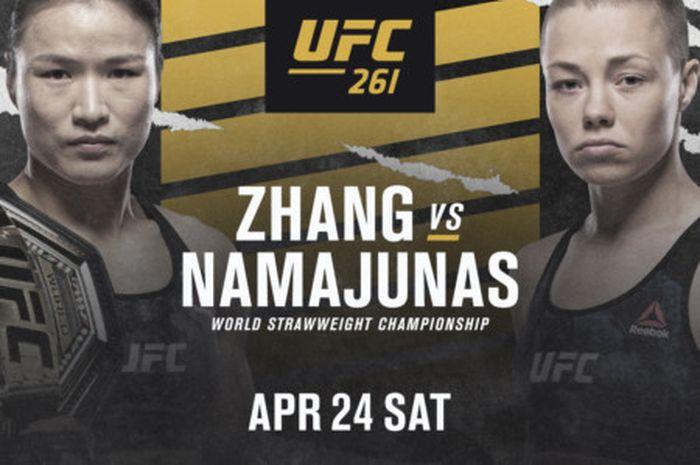 Poster duel Zhang Weili vs Rose Namajunas di UFC 261.