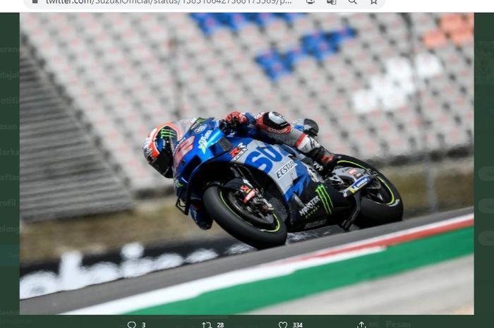 Pembalap Suzuki Ecstar, Alex Rins, saat melancong pada MotoGP Portugal 2021, Minggu (18/4/2021).