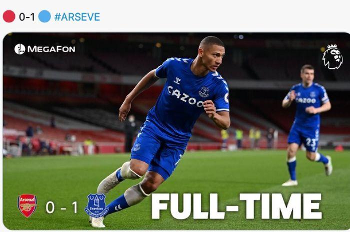 Pemain Everton, Richarlison, dalam laga versus Arsenal dalam lanjutan Liga Inggris di Stadion Emirates, Jumat (23/4/2021)