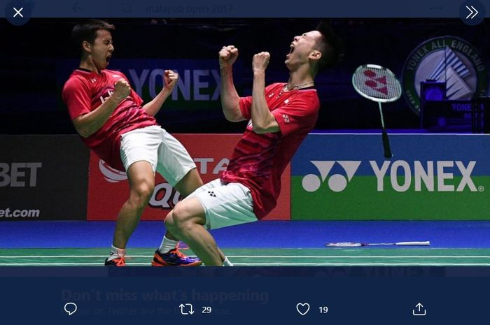 Ganda putra Indonesia, Marcus Fernaldi Gideon/Kevin Sanjaya Sukamuljo menjuarai Malaysia Open 2017.