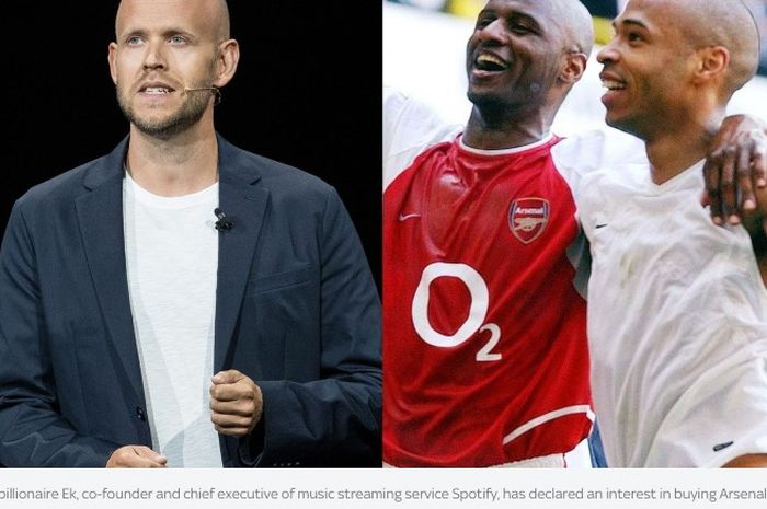 CEO Spotify, Daniel Ek (kiri), meminta bantuan Thierry Henry dan Patrick Vieira untuk mengambil alih Arsenal