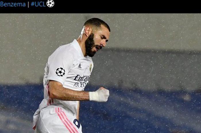 Selebrasi Karim Benzema usai mencetak gol penyama kedudukan Real Madrid dalam laga kontra Chelsea di semifinal Liga Champions