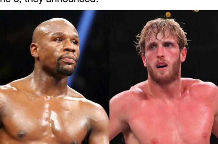 Legenda tinju dunia, Floyd Mayweather Jr (kiri), dan Youtuber sekaligus petinju abal-abal, Logan Paul (kanan).