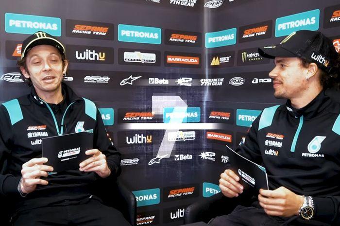 Valentino Rossi (kiri) dan muridnya Franco Morbidelli gak kalah sengitnya di luar balapan MotoGP. Seperti di video The 7-Second Challenge with Rossi and Morbidelli kreasi Sepang Racing Team
