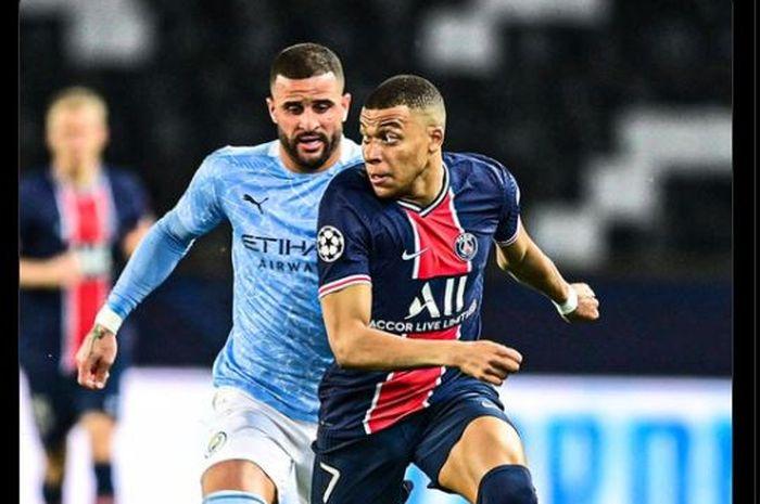 Momen Kylian Mbappe dikejar Kyle Walker dalam laga PSG versus Manchester City di leg pertama semifinal Liga Champions 2020-2021.