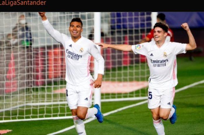 Casemiro turut mencatatkan namanya di papan skor kala Real Madrid menang 2-0 atas Osasuna dalam lanjutan pertandingan Liga Spanyol 2020-2021.