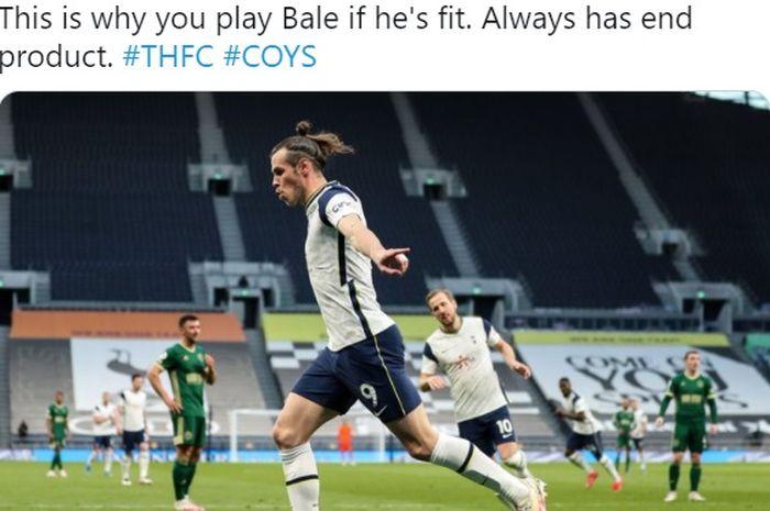 Gareth Bale merayakan gol kala melawan Sheffield United pada Minggu (2/5/2021) waktu setempat.
