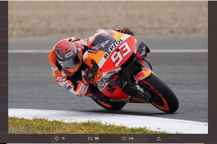 Pembalap Repsol Honda, Marc Marquez, pada sesi Tes MotoGP Jerez, Senin (3/5/2021).
