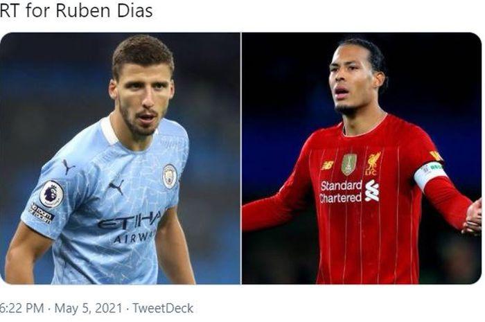 Pemain bertahan milik Manchester City, Ruben Dias (kiri), disebut lebih baik daripada bek Liverpool, Virgil van Dijk.