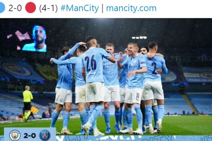 Manchester City menatap partai puncak Liga Champions setelah Riyad Mahrez tampil gemilang, sementara Angel Di Maria di kartu merah.