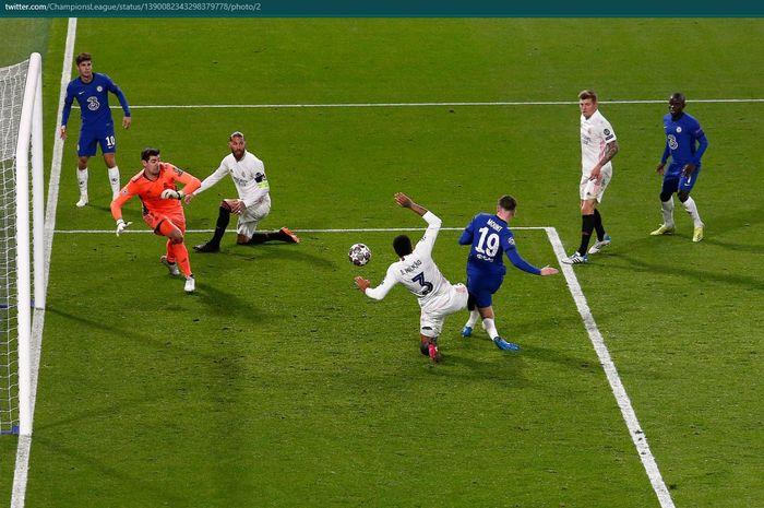 Proses terjadinya gol Mason Mount ke gawang Real Madrid pada laga leg kedua semifinal Liga Champions.