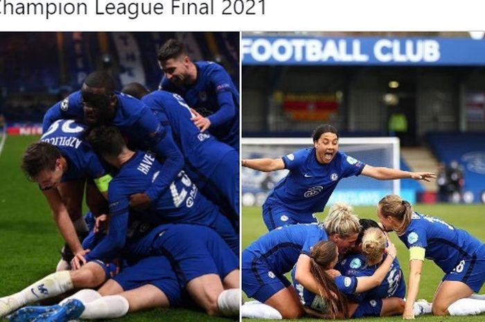 Chelsea mencetak sejarah di ajang Liga Champions usai menjadi tim pria dan wanita mereka kompak lolos ke final di musim 2020-2021.