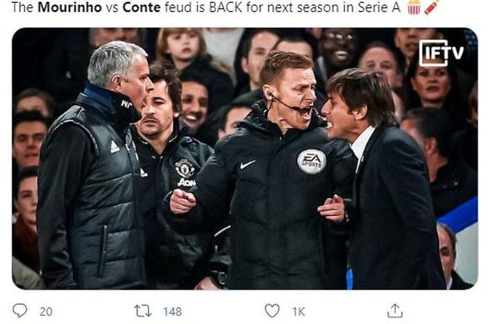 Salah satu keributan antara Antonio Conte (kanan) dengan Jose Mourinho ketika keduanya masih sama-sama melatih di Inggris.