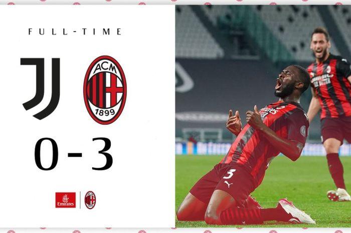 Juventus ditekuk 0-3 oleh AC Milan di kandangnya sendiri, Stadion Allianz, dalam laga pekan ke-35 Liga Italia 2020-2021.
