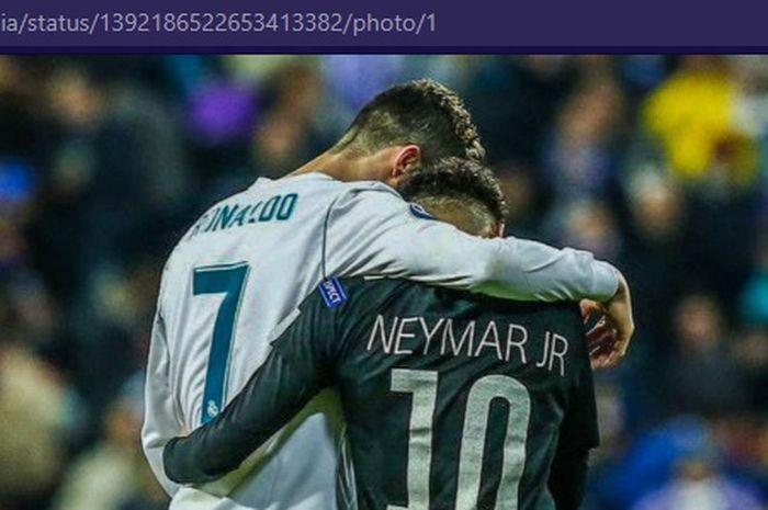 Megabintang Juventus, Cristiano Ronaldo (kiri), dan bintan Paris Saint-Germain, Neymar Jr.