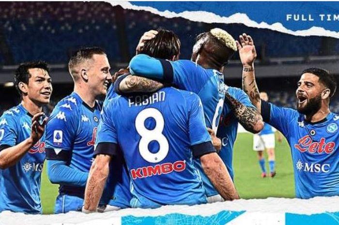 Napoli menghajar Udinese 5-1 dalam partai Liga Italia, 11 Mei 2021.