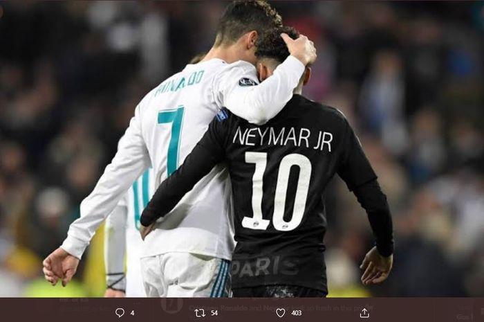 Neymar menyatakan hasratnya untuk menjadi rekan tim Cristiano Ronaldo setelah menikmati rasanya bermain bersama Lionel Messi di Barcelona dan Kylian Mbappe di PSG.