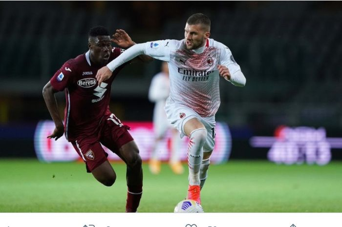 Ante Rebic, mencetak hat-trick dalam laga Torino vs AC Milan di laga pekan ke-36 Liga Italia, Rabu (12/5/2021) di Stadion Olimpiade Turin.
