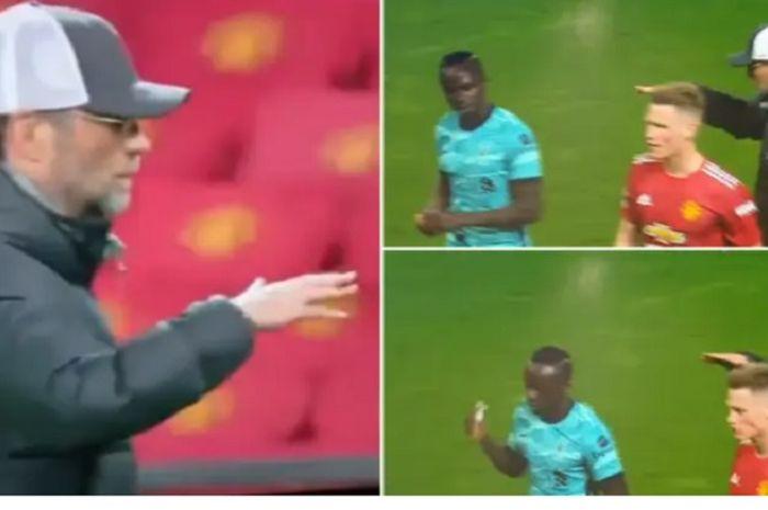 Momen Sadio Mane tak acuhkan Juergen Klopp saat ingin berjabat tangan di akhir laga Liverpool versus Manchester City, Jumat (14/5/2021).