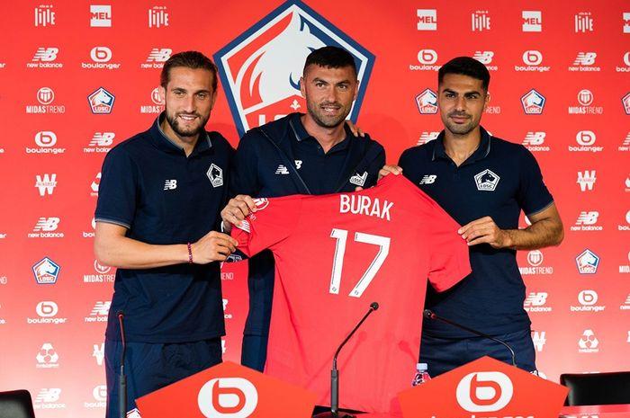 Trio pemain timnas Turki di Lille, Yusuf Yazici, Burak Yilmaz, dan Zeki Celik.
