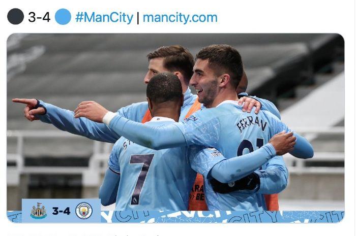 Selebrasi kemenangan Manchester City atas Newcastle United pada pertandingan Liga Inggris di Stadion St. James' Park, Newcastle, Jumat (14/5/2021)