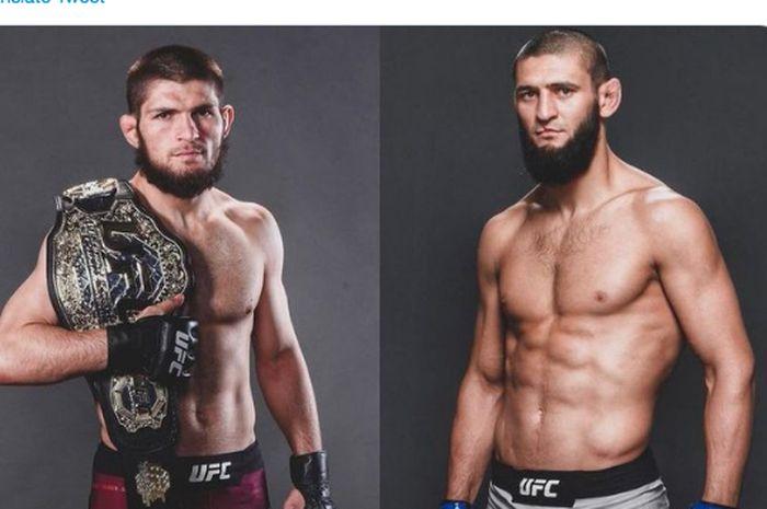 Khabib Nurmagomedov (kiri) dan Khamzat Chimaev (kanan)