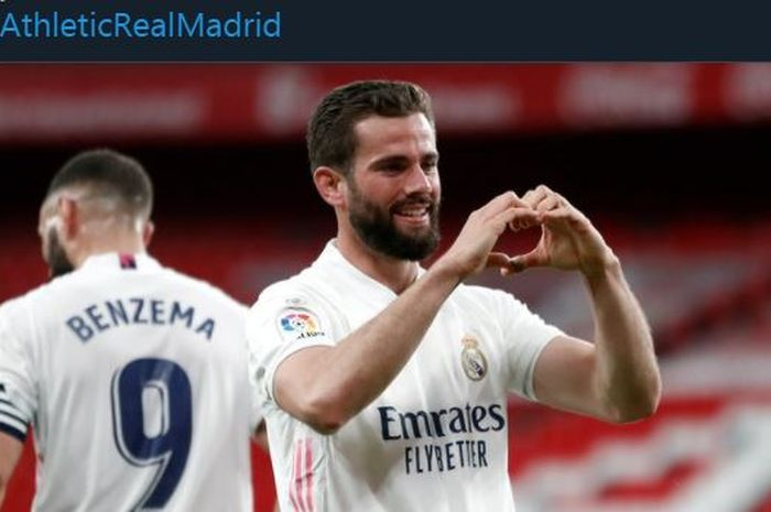 Nacho merayakan golnya untuk Real Madrid ke gawang Athletic Bilbao di Liga Spanyol, 16 Mei 2021.