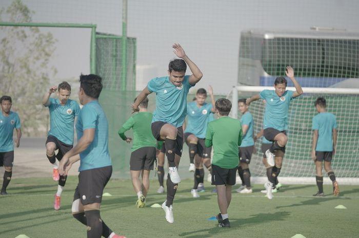 Asnawi Mangkualam Bahar saat menjalani latihan bersama dengan timnas Indonesia di Dubai, Uni Emirat Arab (UEA), Rabu (19/5/2021).