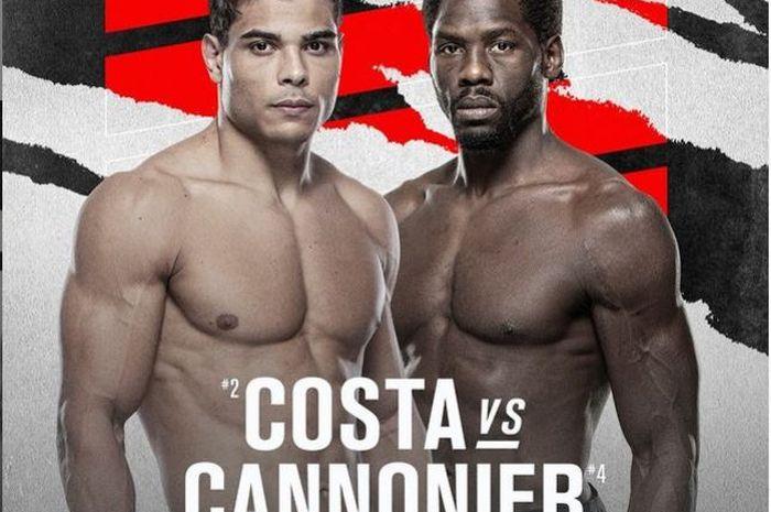 Poster duel dua jagoan sangar kelas menengah UFC, Paulo Costa (kiri) vs Jared Cannonier (kanan).