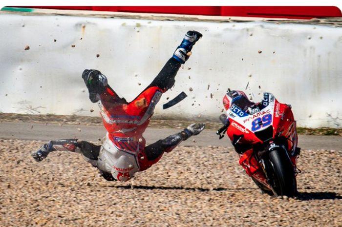 Pembalap Pramac Racing, Jorge Martin,  mengalami kecelakaan pada sesi FP3 MotoGP Portugal 2021.