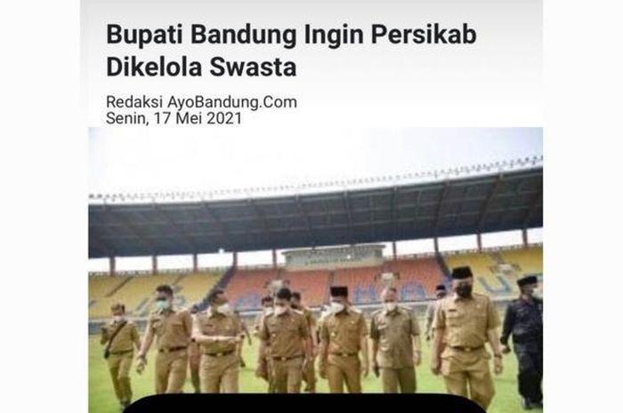 Unggahan Presiden Dewa United, Erick Herlangga terkait Persikab Kabupaten Bandung