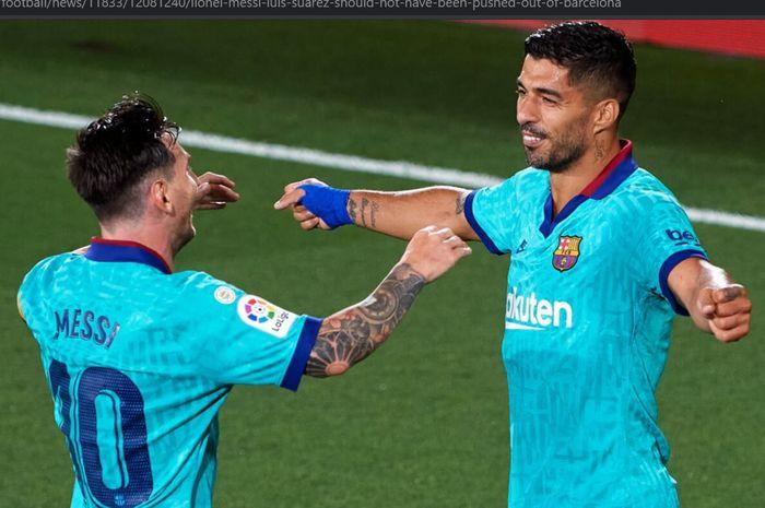 Lionel Messi (kiri) dan Luis Suarez (kanan) ketika masih satu tim di Barcelona.