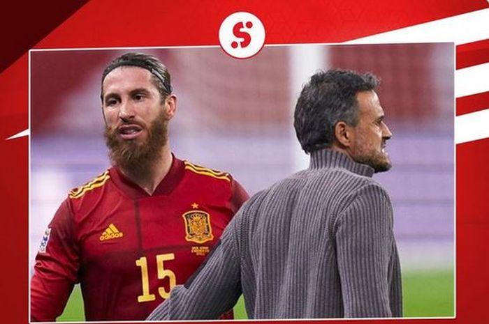 Bek timnas Spanyol, Sergio Ramos, berpapasan dengan pelatih Luis Enrique.