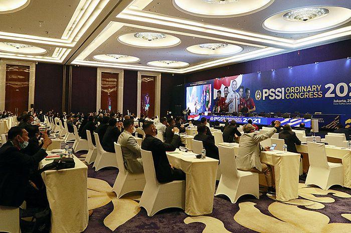 Suasana Kongres Tahunan PSSI di Hotel Raffles, Kuningan, Jakarta Selatan, Sabtu (29/5/2021)