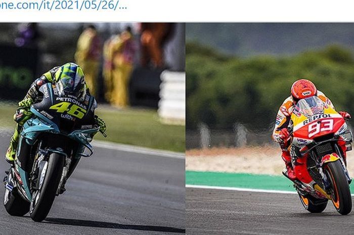 Kolase foto dua pembalap bintang MotoGP, Valentino Rossi dan Marc Marquez.
