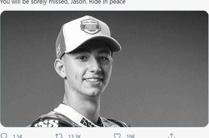 Pembalap Moto3, Jason Dupasquier, meninggal dunia setelah mengalami kecelakaan mengerikan di sesi kualifikasi Moto3 Italia 2021, Sabtu (29/5/2021).