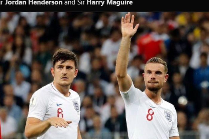 Kapten Manchester United dan Liverpool, Harry Maguire dan Jordan Henderson saat memperkuat timnas Inggris.